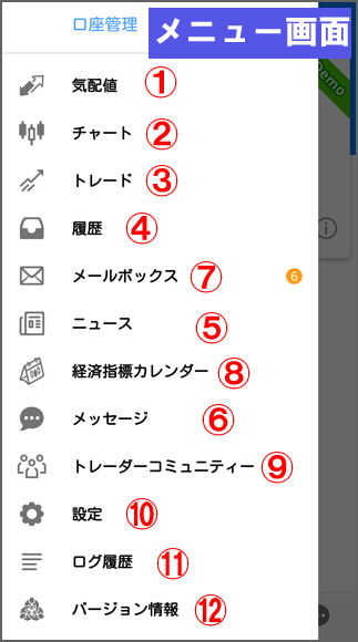 MT4アプリメニュー画面