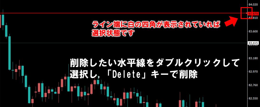 削除したい水平線をダブルクリックして選択し「Delete」キーで削除する