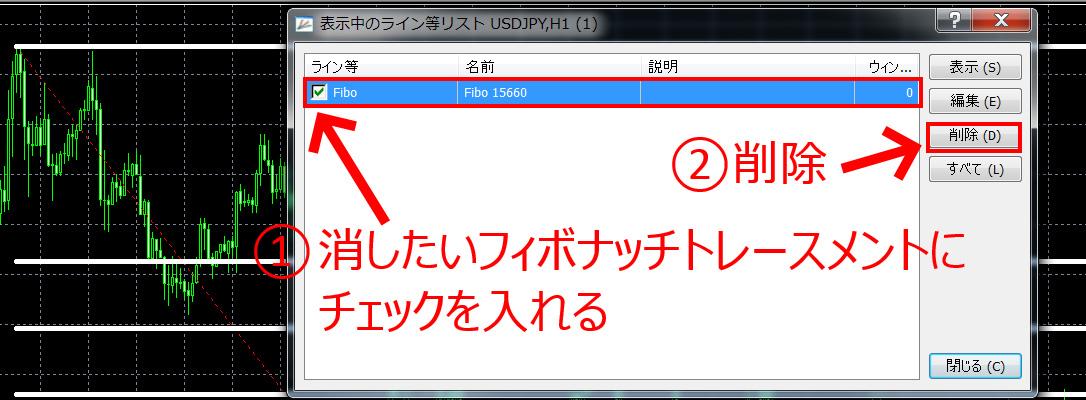 「チャート上で右クリック→表示中のライン等→Fiboにチェックを入れる→削除」で削除する