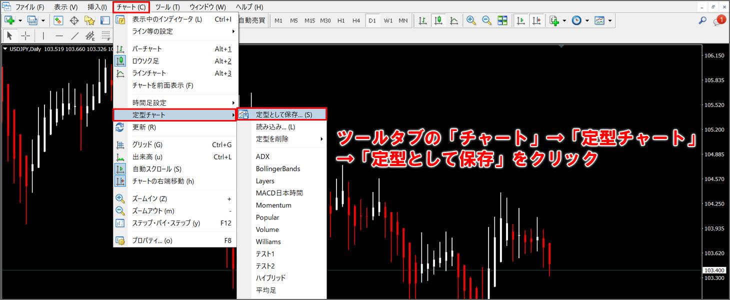 ツールタブの「チャート」→「定型チャート」→「定型として保存」をクリック