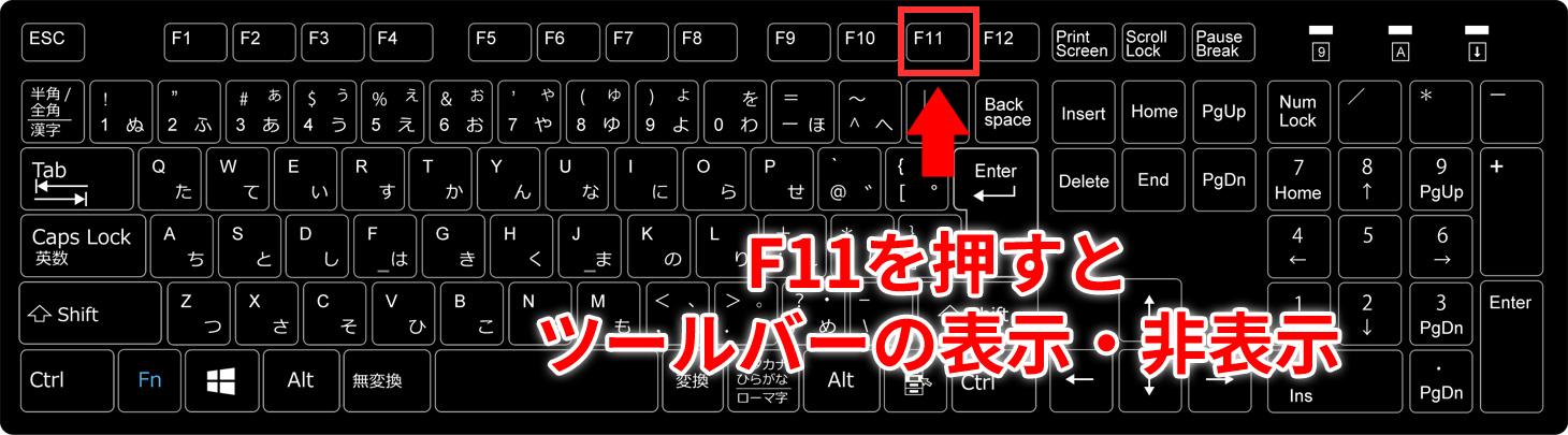 キーボードの「F11」を押すとツールバーの表示・非表示ができます