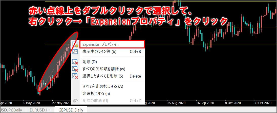 赤い点線上を、ダブルクリックで選択して、右クリック→「Expansionプロパティ」をクリック
